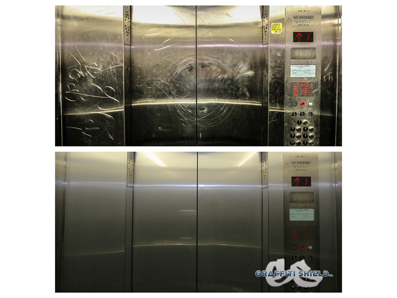 Before And After Metal Shield Elevator Metal Shield USC